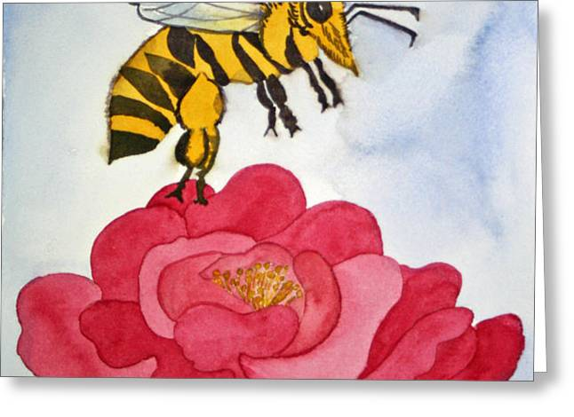 The Bee and The Rose Greeting Card by Shirin Shahram Badie