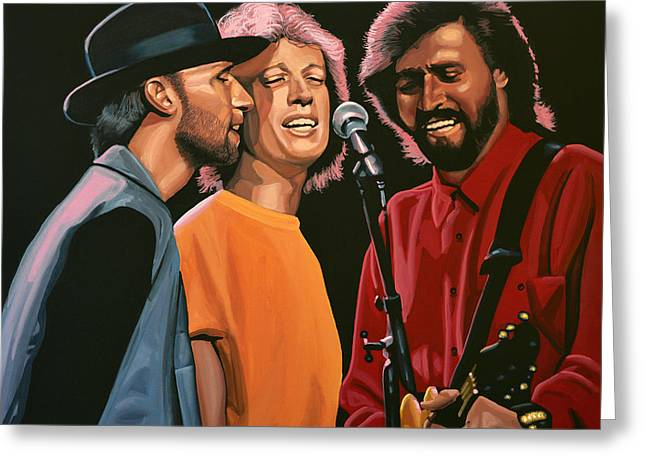Win Paintings Greeting Cards - The Bee Gees Greeting Card by Paul  Meijering