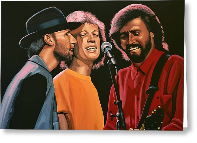Famous Greeting Cards - The Bee Gees Greeting Card by Paul Meijering