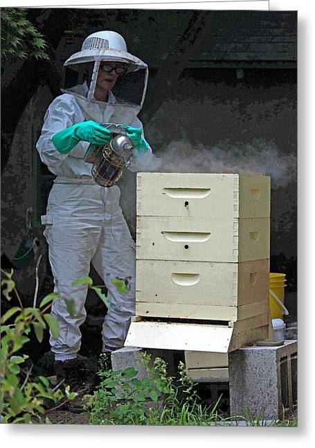 Beekeepers Greeting Cards - The Beekeeper I in Watercolor Greeting Card by Suzanne Gaff