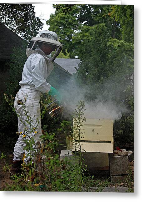 Beekeepers Greeting Cards - The Beekeeper III in Watercolor Greeting Card by Suzanne Gaff