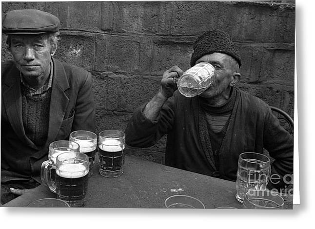 Zola Greeting Cards - The Beer Drinkers Greeting Card by Franz Gustincich