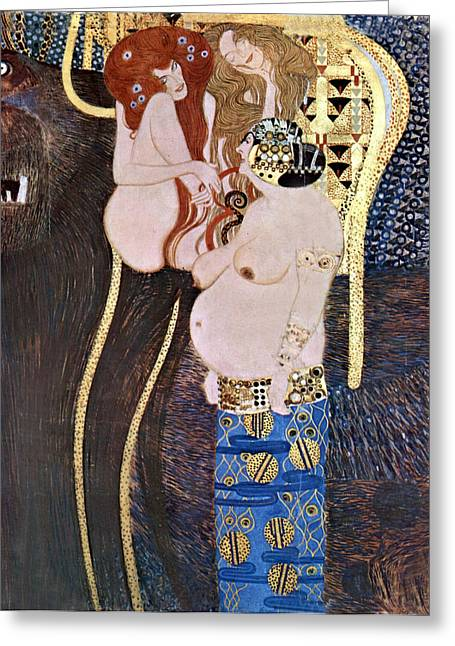 Woman In A Dress Greeting Cards - The Beethoven Frieze Greeting Card by Gustive Klimt