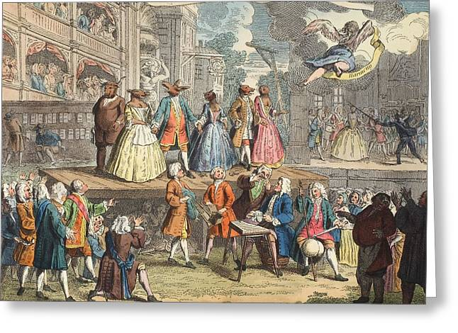Urinating Greeting Cards - The Beggars Opera, Illustration Greeting Card by William Hogarth