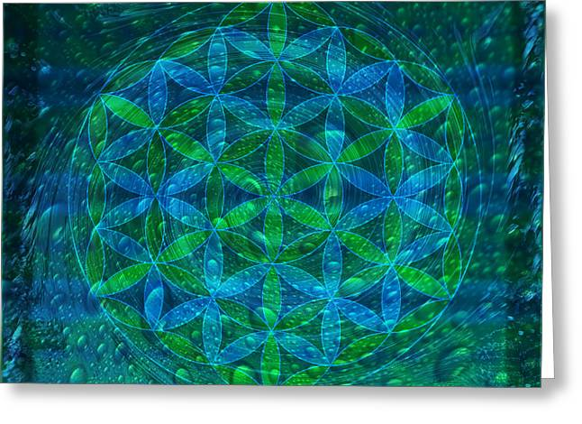 Archangel Greeting Cards - The Begining - Water Flower of Life Mandala Greeting Card by Iwona Sicinska
