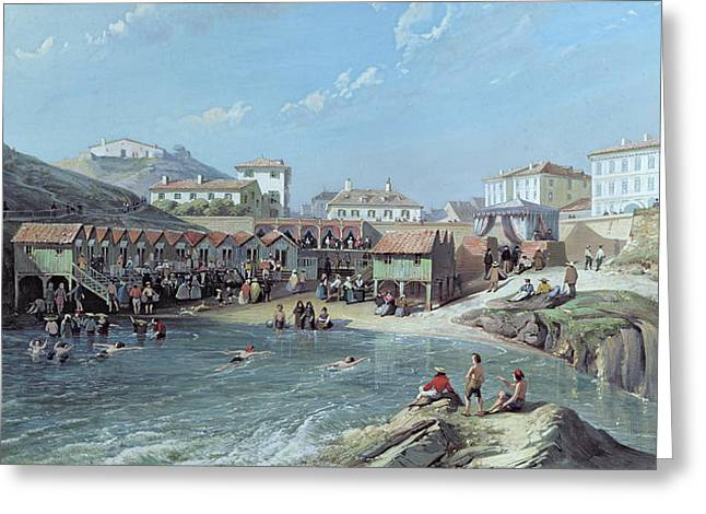 South Of France Greeting Cards - The Beginning of Sea Swimming in the Old Port of Biarritz  Greeting Card by Jean Jacques Alban de Lesgallery