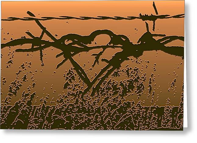 Love Greeting Cards - The Beginnings - Barbed Wire Series Greeting Card by Lesa Fine