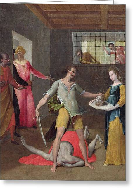 Executioner Greeting Cards - The Beheading Of St. John The Baptist Oil On Canvas Greeting Card by Italian School