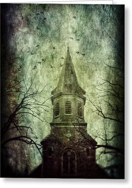Surreal Fantasy Gothic Church Greeting Cards - The Belfry Greeting Card by Danny Van den Groenendael