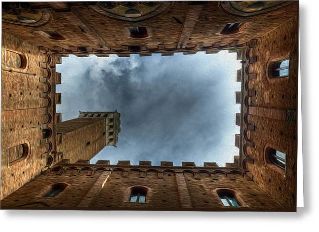 Sienna Italy Digital Art Greeting Cards - The Bell Tower Greeting Card by Jon Holland