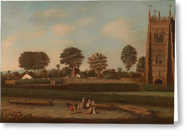 Field. Cloud Greeting Cards - The Bell Tower of Evesham  Greeting Card by Unknown