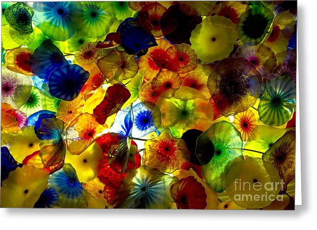 Mike Nellums Greeting Cards - The Bellagio Glass Ceiling Greeting Card by Mike Nellums