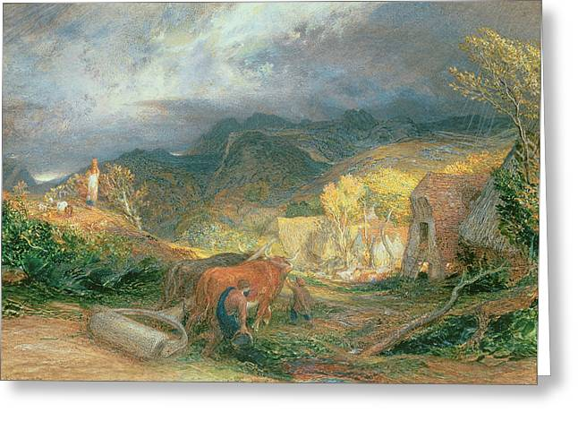 Rollers Greeting Cards - The Bellman With Oxen Greeting Card by Samuel Palmer