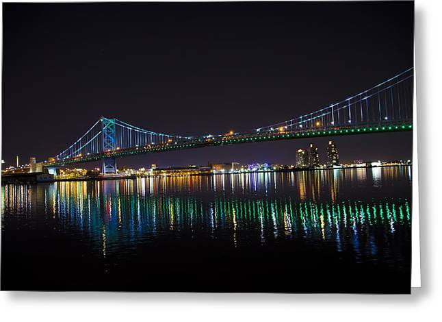 Ben Franklin Bridge Greeting Cards - The Ben Franklin Bridge at Night Greeting Card by Bill Cannon