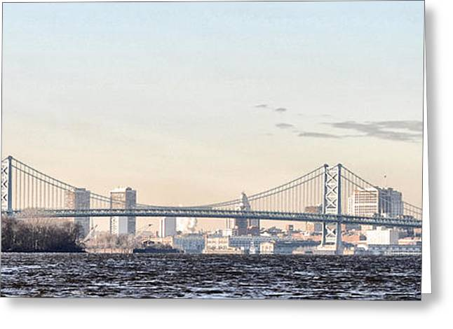 Treaty Greeting Cards - The Ben Franklin Bridge from Penn Treaty Park Greeting Card by Bill Cannon