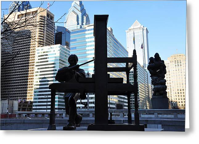 Franklin Press Greeting Cards - The Ben Franklin Printing Press Statue Greeting Card by Bill Cannon