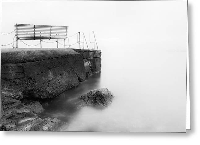 The Bench and the fog Greeting Card by Erik Brede