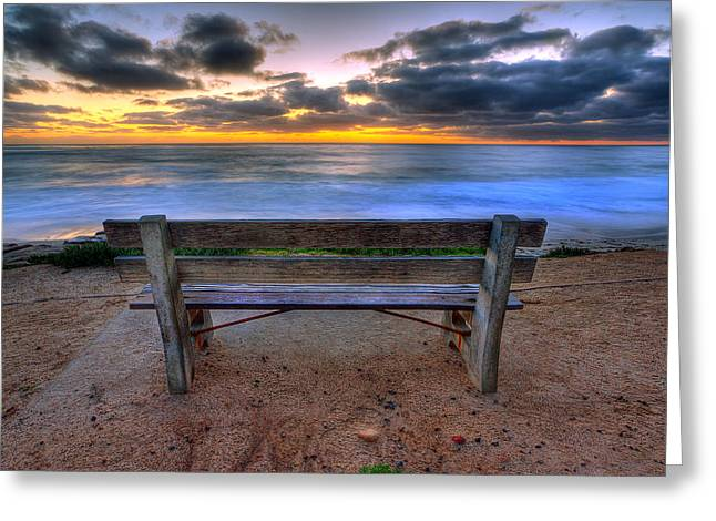La Jolla Art Greeting Cards - The Bench II Greeting Card by Peter Tellone
