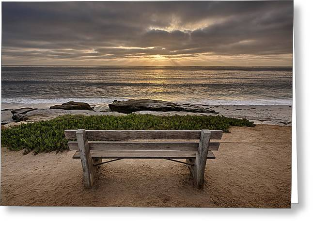 Hdr (high Dynamic Range) Greeting Cards - The Bench III Greeting Card by Peter Tellone