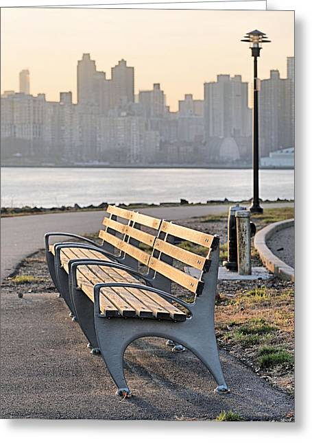 Harlem River Greeting Cards - The Bench Greeting Card by JC Findley