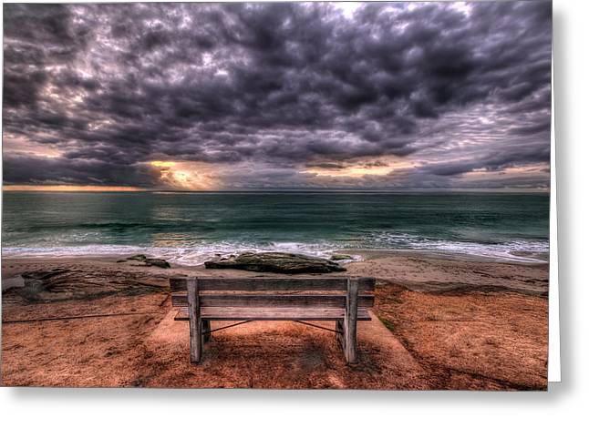 Park Benches Photographs Greeting Cards - The Bench - Lrg Print Greeting Card by Peter Tellone