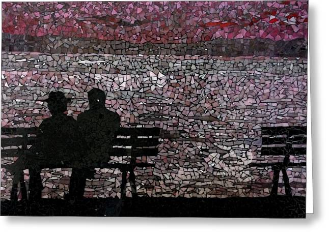 Silhouettes Glass Art Greeting Cards - The Bench Greeting Card by Monique Sarfity