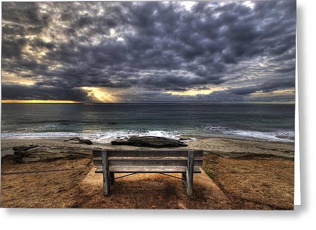 Sky High Greeting Cards - The Bench Greeting Card by Peter Tellone