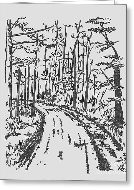 Country Dirt Roads Drawings Greeting Cards - The Bend Greeting Card by Andooga Design