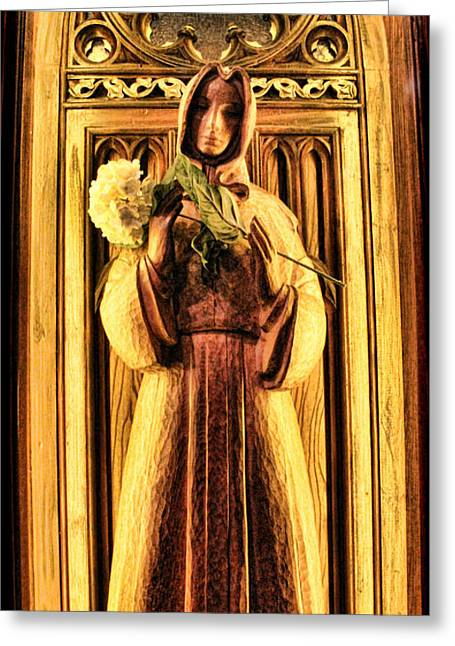 The Wooden Cross Greeting Cards - The Benedictine Monk Greeting Card by Lee Dos Santos