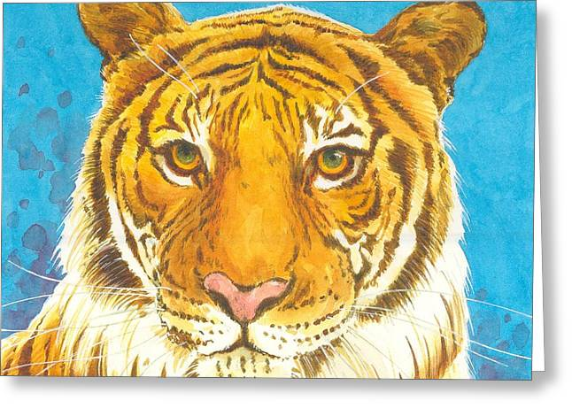 Watercolor Tiger Greeting Cards - The Bengal Tiger Greeting Card by Joyce Hensley