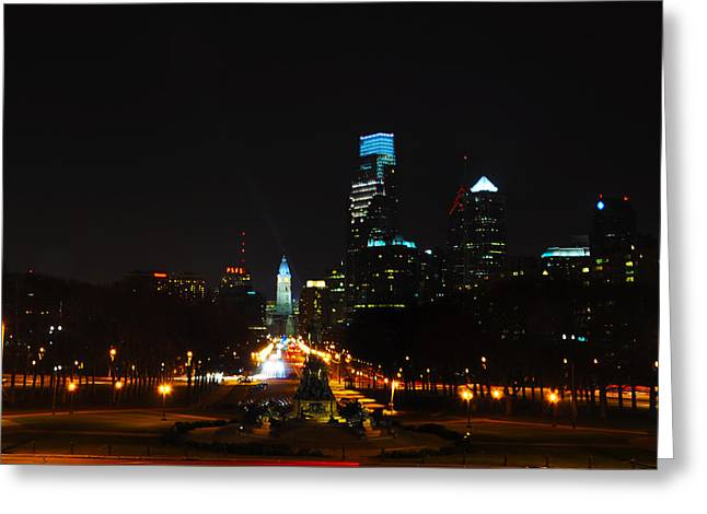 Benjamin Franklin Parkway Greeting Cards - The Benjamin Franklin Parkway at Night Greeting Card by Bill Cannon