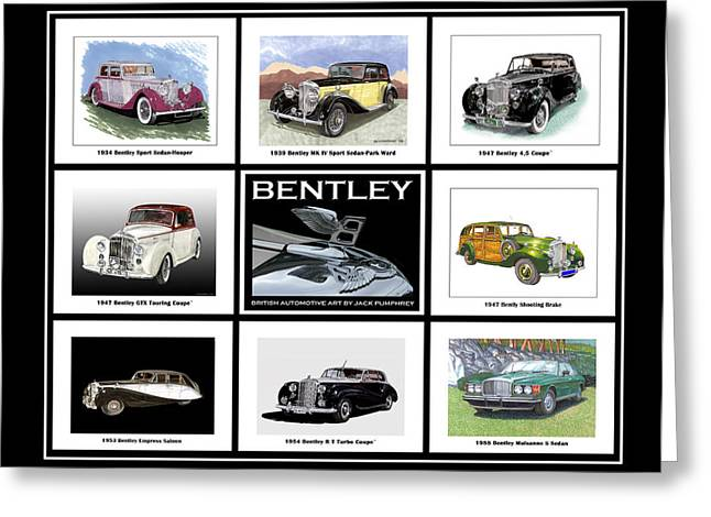 Wholly Greeting Cards -  Bentley Poster of Classics Greeting Card by Jack Pumphrey