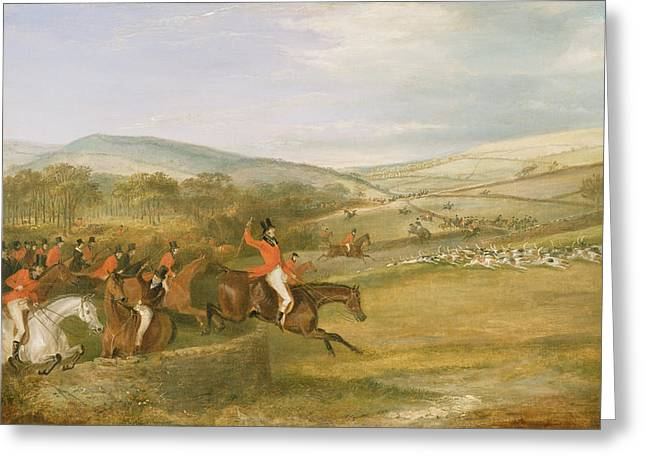 Scented Greeting Cards - The Berkeley Hunt, Full Cry, 1842 Oil On Canvas Greeting Card by Francis Calcraft Turner