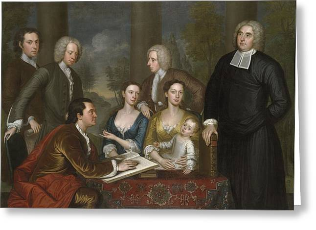 Entourage Greeting Cards - The Bermuda Group, Dean Berkeley And His Entourage, 1728, Reworked 1739 Oil On Canvas Greeting Card by John Smibert