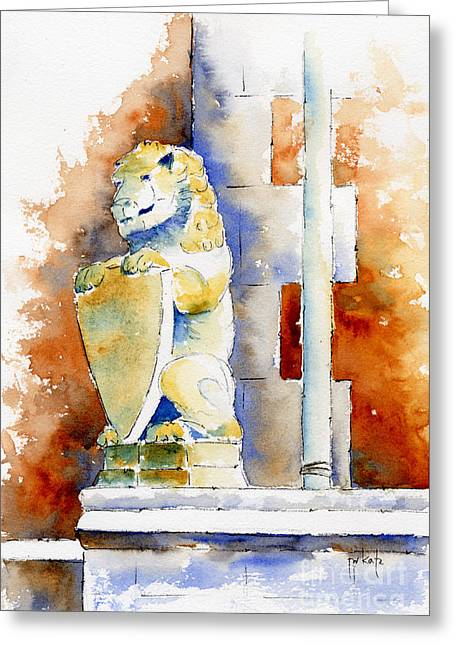 Sienna Greeting Cards - The Bessborough Lion Greeting Card by Pat Katz