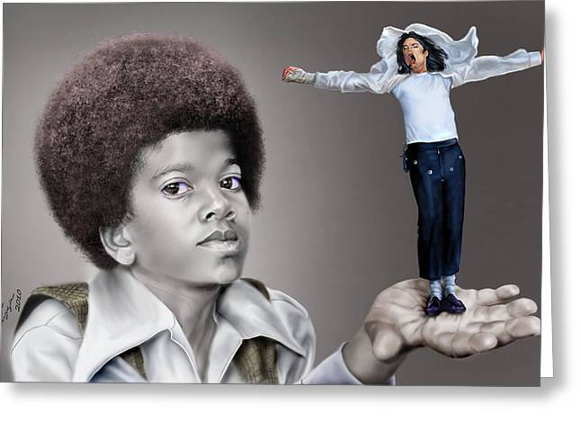 Super Stars Paintings Greeting Cards - The Best of Me - Handle With Care - Michael Jacksons Greeting Card by Reggie Duffie
