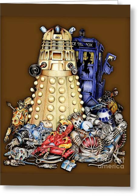 Eleventh Doctor Greeting Cards - The Best Robot in the Universe Greeting Card by Three Second