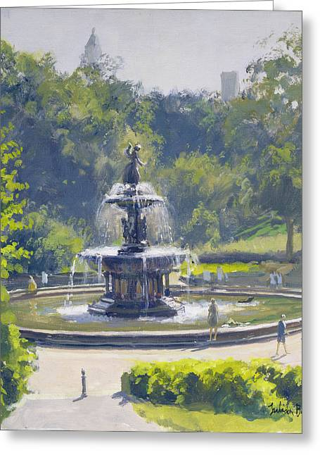 Summer Landscape Photographs Greeting Cards - The Bethesda Fountain, Central Park, 1996 Oil On Canvas Greeting Card by Julian Barrow