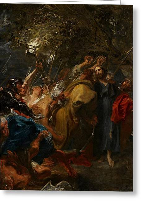 Struggles Greeting Cards - The Betrayal of Christ Greeting Card by Anthony Van Dyck
