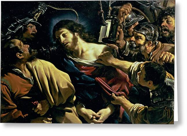 Judas Greeting Cards - The Betrayal Of Christ, C.1621 Greeting Card by Guercino