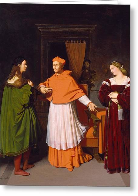 Betrothal Greeting Cards - The Betrothal of Raphael and the Niece of Cardinal Bibbiena Greeting Card by Jean-Auguste-Dominique Ingres