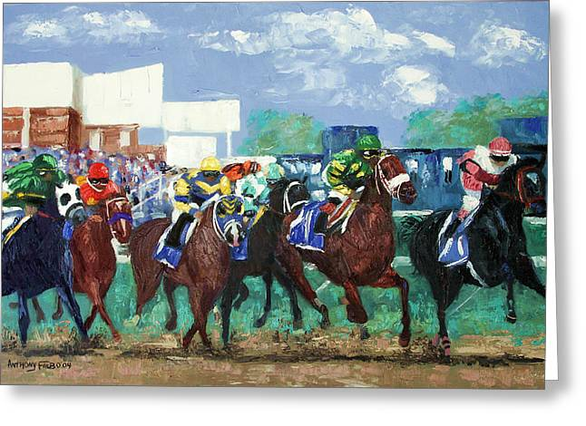 Jockeys Greeting Cards - The Bets Are On Again Greeting Card by Anthony Falbo