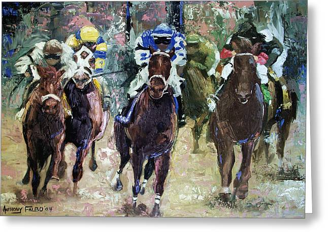 Jockey Greeting Cards - The Bets Are On Greeting Card by Anthony Falbo