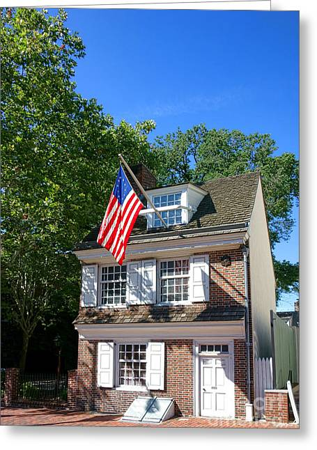 Betsy Greeting Cards - The Betsy Ross House Greeting Card by Olivier Le Queinec