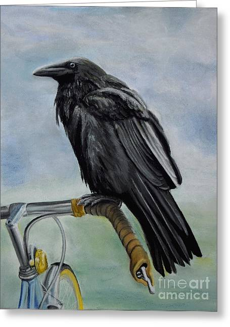 Raven Pastels Greeting Cards - The Bicycle Thief Greeting Card by Breanna Moran