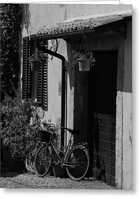 Frontdoor Greeting Cards - The Bicycle under the Porch Greeting Card by Dany  Lison
