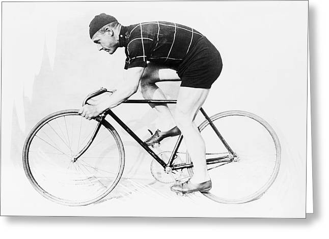 The Bicyclist - 1914 Greeting Card by Daniel Hagerman