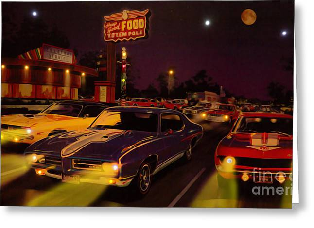 Stock Muscle Photos Greeting Cards - The Big 3 Street Racing Greeting Card by Al Bourassa