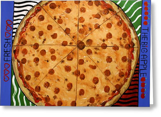 The Big Ass New York Pizza Greeting Card by Anthony Falbo
