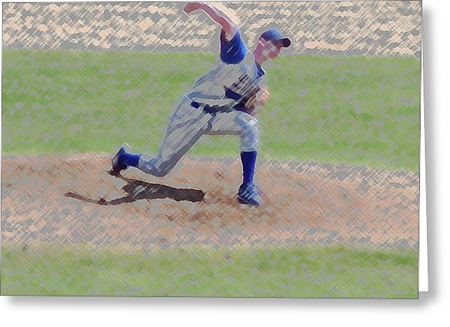 Photography By Tom Woolworth Greeting Cards - The Big Baseball Pitch Digital Art Greeting Card by Thomas Woolworth